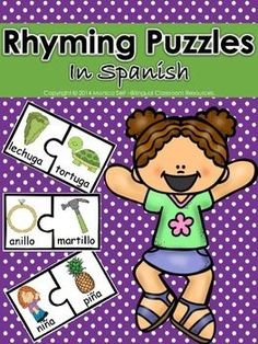 20+Rhyming+puzzles+in+Spanish.Each+puzzle+piece+has+picture+and+word+of+the+item+shown.This+activity+can+be+completed+in+pairs,+individually+or+during+small+group+instruction.Print+on+card+stock+and+laminate+for+durability!Rhyming+is+an+essential+phonological+awareness+skill.CCSS.ELA-Literacy.RF.K.2a+Recognize+and+produce+rhyming+words.