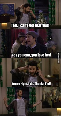 Hey Ted, I can't get married! - How I Met Your MotherHey Ted, I can't get married! - How I Met Your Mother Best Tv Shows, Best Shows Ever, Favorite Tv Shows, Ted Mosby, How I Met Your Mother, Movie Quotes, Funny Quotes, Tv Quotes, Comedy