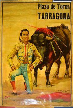CARTEL PINTURA LUIS MIGUEL DOMINGUIN JUAN REUS PLAZA TOROS TARRAGONA BARCELONA MIGUEL BOSE AÑOS 40