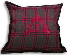 "BN Paoletti Funky Zermatt Stag Head Wool Mix Cushion Cover Pink Tartan Check 22"""