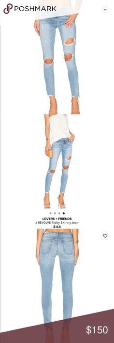 🔥Lovers + Friends Destroyed denim🔥 PERFECT CONDITION! Amazing quality 🙏🏻😍 low rise 🌸 Lovers + Friends Jeans Ankle & Cropped