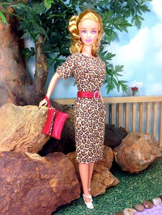 Dress for Barbie Doll - Animal Print Design Barbie Doll Dress with Purse, Belt, Earrings, and Shoes by EnchantedStyles on Etsy