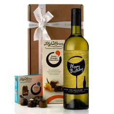 A Perfect Birthday Wine Gift.....send the perfect gift combination of wine and chocolates to celebrate a special birthday.  You can personalise the wine label with any message over 2 lines.  The first line appears in white caps up to 25 characters and the second line appears in script up to 30 characters.