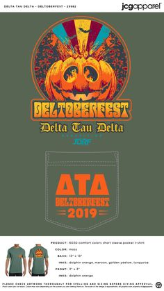 Delta Tau Delta Deltoberfest Shirt | Fraternity Deltoberfest | Greek Deltoberfest #deltataudelta #dtd #Deltoberfest #Halloween #pumpkin Sorority And Fraternity, Sorority Shirts, Delta Tau Delta, Custom Design Shirts, Comfort Colors, Halloween Themes, Banners, Screen Printing, Colorful Shirts