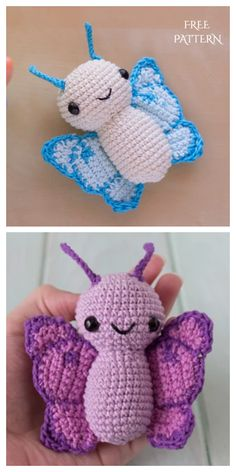 Crochet Butterfly Am Crochet Butterfly Free Pattern, Crochet Butterfly Pattern, Crochet Birds, Crochet Amigurumi Free Patterns, Granny Square Crochet Pattern, Crochet Animal Patterns, Cute Crochet, Crochet Crafts, Crochet Toys