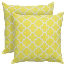 Cotton throw pillow with an ogee lattice motif. Product: PillowConstruction Material: Cotton flax cover and polyester ...