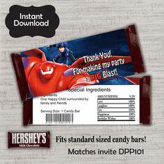 Big Hero 6 Candy Bar Wrapper,Baymax Candy Wrapper,Hiro Wrapper,JPG file,Hershey Bar Label,Baymax,Hiro,Big Hero 6,DPP101