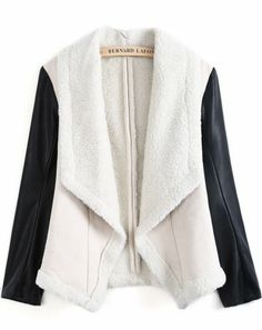 Apricot Wool Lapel Contrast PU Leather Coat pictures