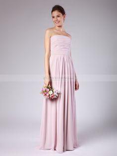 Georgette - Columna strapless vestido de damas de honor de gasa