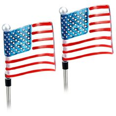 (2 Pack) Solar Powered Patriotic Outdoor Garden U.S. Flag Stake Landscape LED Pathway Light