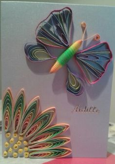 Quilled mother's day card by combing and husking