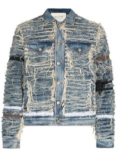 Vintage Denim, Distressed Denim Jacket Mens, Custom Denim Jackets, Estilo Jeans, Denim Fashion, Fashion Edgy, Luxury Fashion, Denim Ideas, Cute Swag Outfits