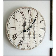 Cream kitchen WALL CLOCK Wood Large Round 34cm Dia Country Cottage Chic