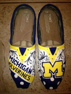 University of Michigan Hand Painted Toms on Etsy, $120.00