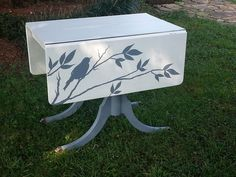 Hand Painted Drop Leaf Table available at Just Repurposed, Hanceville, AL. #repurposed #handpainted #accenttable