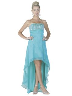 Strapless Beading on Bodice Chiffon High Low Prom Dress (5-colors XS-3XL