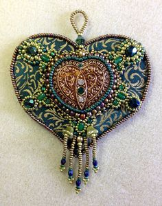 Heart of Gold (bead embroidered ornament kit in green and gold)