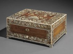 AN IVORY-INLAID SANDLEWOOD BOUDOIR CHEST, INDIA, 18TH CENTURY