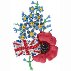 Finest Red Enamel and Gold Poppy Flower Brooch Remembrance Poppy, Royal British Legion, Flag Pins, Union Jack, Black Crystals, Small Flowers, Flower Brooch, Badges, Brooches