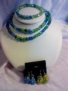 Women's handmade jewelry Set- blue, green necklace, bracelet and earrings New #Handmade
