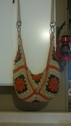 #Crochet Granny Square Handbag Purse #TUTORIAL