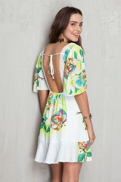 Vestido decote estampado floral localizado | Dress to