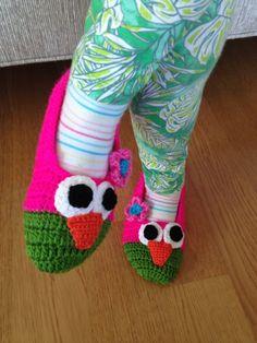 Crocheted Children Owl Slippers - Free Shipment!!! on Etsy, 30,00$