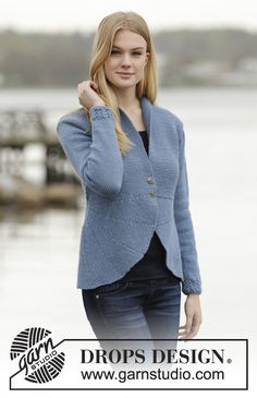 """Dinner Date - Knitted DROPS jacket with short rows, lace pattern and shawl collar in """"Lima"""". Size: S - XXXL. - Free pattern by DROPS Design Drops Design, Sweater Knitting Patterns, Free Knitting, Lima, Magazine Drops, Lace Patterns, Stitch Patterns, Work Tops, Knit Jacket"""