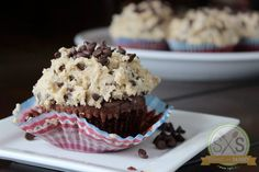 Fudge Brownie Cupcakes with Cookie Dough Frosting, Cupcake Recipe