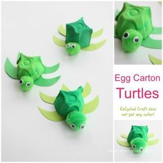 Egg Carton Turtle ReCycled Kids Craft Egg Carton Turtle ReCycled Kids CraftThis egg carton turtle is both easy and fun to make – and seriously… an egg box does not get much cuter Ocean Kids Crafts, Recycled Crafts Kids, Preschool Crafts, Crafts For Kids, Under The Sea Crafts, Recycling For Kids, Turtle Crafts, Dinosaur Crafts, Egg Carton Crafts