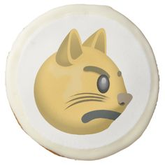 Pouting Cat Face Emoji Sugar Cookie