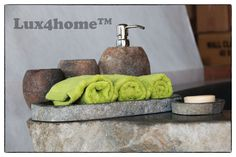 Bathroom set made of natural stone (stone container for soap, real stone soap dish, tray towel, stone cup).  Manufactured by Lux4home™.