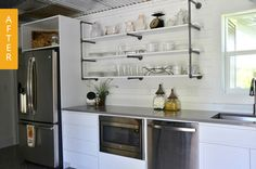 Modern farmhouse kitchen/kitchen remodel from Apartment Therapy