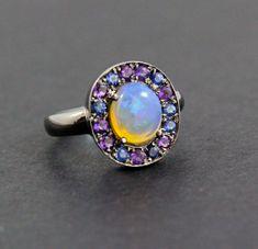 Australian jelly opal with amethyst and by SARAHHUGHESfinegems