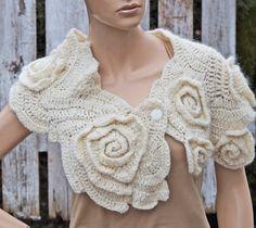 Womens scarf Wedding scarf Capelet Crochet Scarf Freeform