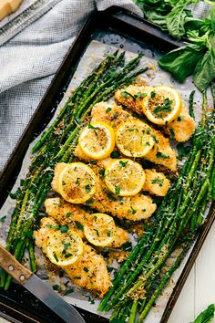 Here's how to make one-pan lemon parmesan chicken and asparagus.
