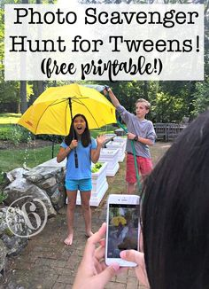 Are you looking for a fun party game for tweens that would be perfect at kids birthday parties? I created a fun photo scavenger hunt for kids that is perfect for tweens and can take place in your own backyard or at a nearby park! Teen Scavenger Hunt, Scavenger Hunt Birthday, Photo Scavenger Hunt, Birthday Party Games, Race Party, 11th Birthday, Birthday Crafts, Birthday Fun, Birthday Party Ideas For Teens 13th