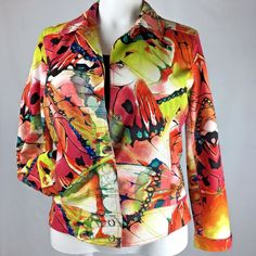 Chicos Cotton Blend Vivid Abstract Jacket - Chicos Size 2 / US Size 12 (Large) #Chicos #BasicJacket