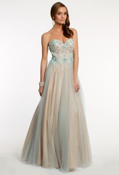 f2f0c35e1f Strapless Tulle Dress with Beaded Bodice from Camille La Vie and Group USA  Fancy Prom Dresses