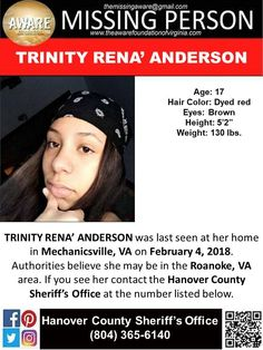Find missing Trinity Rena' Anderson! features the new case of a teen girl who went missing under unclear circumstances two weeks ago. Missing Child, Missing Persons, Amber Alert, Looking For Someone, Helping Hands, Vancouver, Hair Color, Teen, Cases