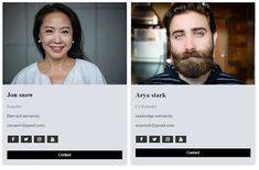Profile cards with social media icons side by side using HTML and CSS only. Social Media Buttons, Social Media Icons, Hacker News, About Us Page, Only Online, Creating A Business, We Need You, Co Founder, Business Website
