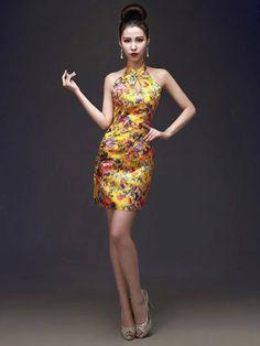 a297b426e Golden floral brocade mandarin collar short halter dress – Modern Qipao  Halter Dress Short, Short