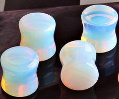 "Piercings 1pair Glass Opal Taper Gauge Ear Plug Expander Stretcher Flesh Tunnel Piercing Sizes 3-18mm "" FREE SHIPPING """