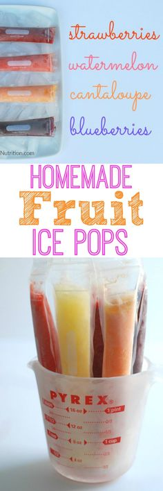 Homemade Fruit Popsicles - Real Mom Nutrition Make these easy and refreshing homemade fruit popsicles for your kids this summer–using just two ingredients and real fruit. Healthy Dessert Recipes, Baby Food Recipes, Snack Recipes, Healthy Foods, Healthy Recepies, Healthy Treats, Vegan Desserts, Healthy Tips, Free Recipes