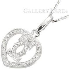 カルティエ ネックレス 2C ハート ダイヤモンド K18WGホワイトゴールド Cartier ジュエリー ペンダント ダイアモンド
