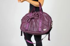 oGorgeous Gym Boutique - Beverly Bowtie Gym Bag in Plum Jewel