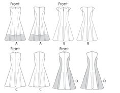 Neckline variation pattern | DRESSES: Fitted and flared, lined dresses have neckline variations ...