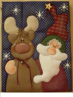 Reno y santa Christmas Crafts, Christmas Ornaments, Christmas Stockings, Primitive, Diy And Crafts, Santa, Cartoon, Quilts, Sewing
