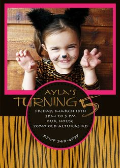 Tiger Birthday Party Invite. $14.00, via Etsy.