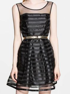 Black Organza Skater Dress - Fashion Clothing, Latest Street Fashion At Abaday.com